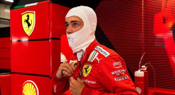 Charles Leclerc in pista nelle prove libere del Gran Premio del Belgio di F1 2021 a Spa-Francorchamps