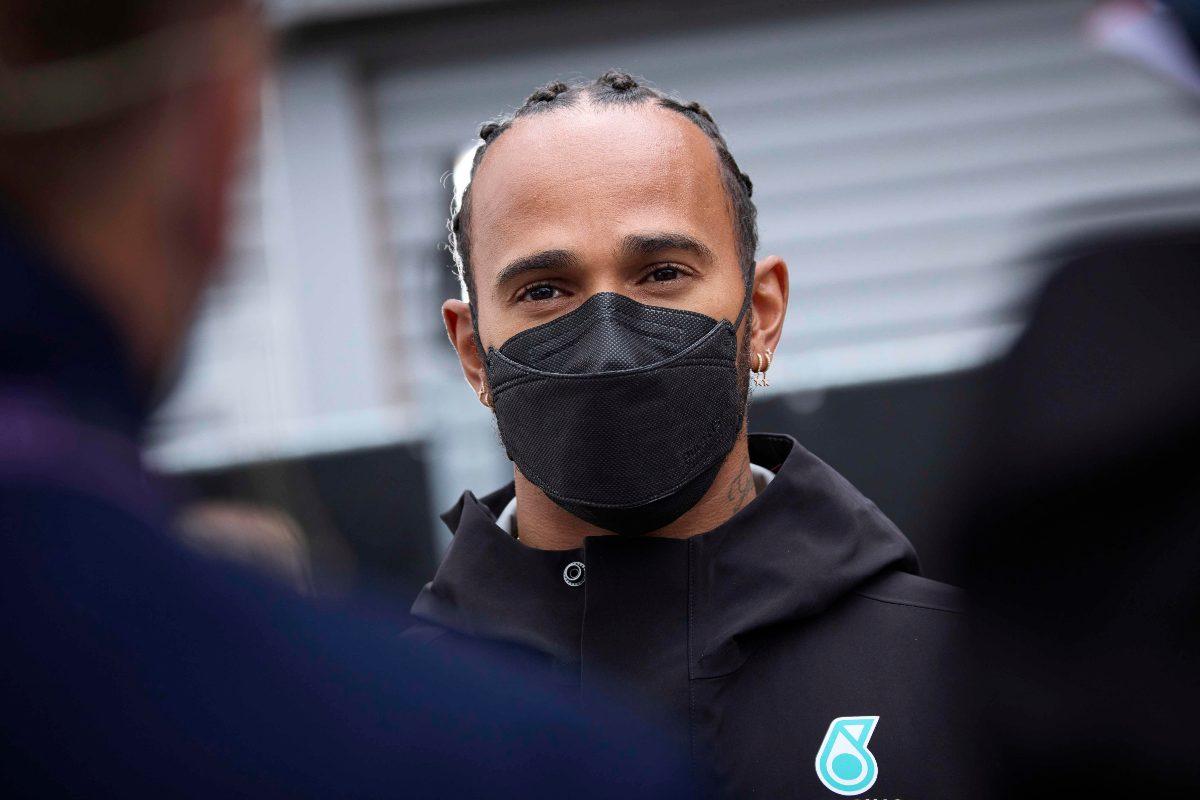 Lewis Hamilton parla con i giornalisti alla vigilia del Gran Premio del Belgio di F1 2021 a Spa-Francorchamps