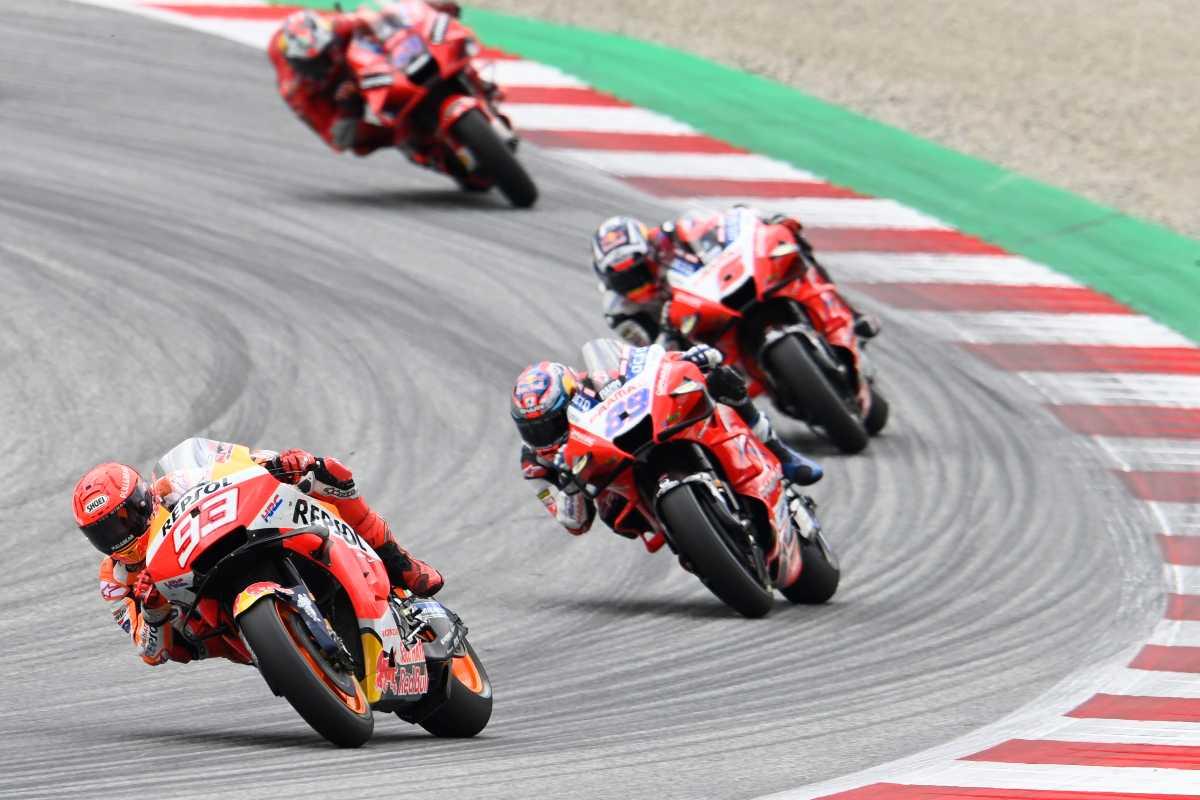 Una fase di gara del Gran Premio d'Austria di MotoGP 2021 al Red Bull Ring