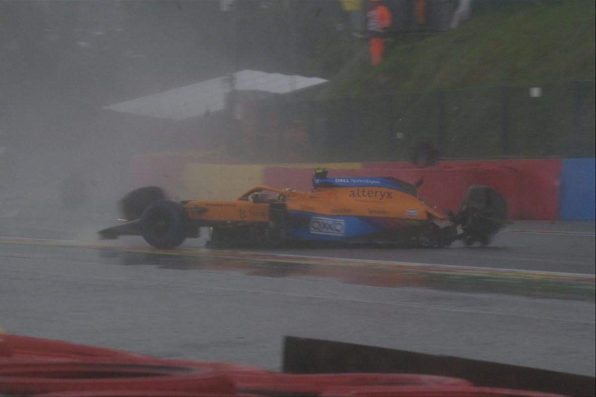 L'incidente di Lando Norris durante le qualifiche del Gran Premio del Belgio a Spa-Francorchamps (Foto Twitter/F1)