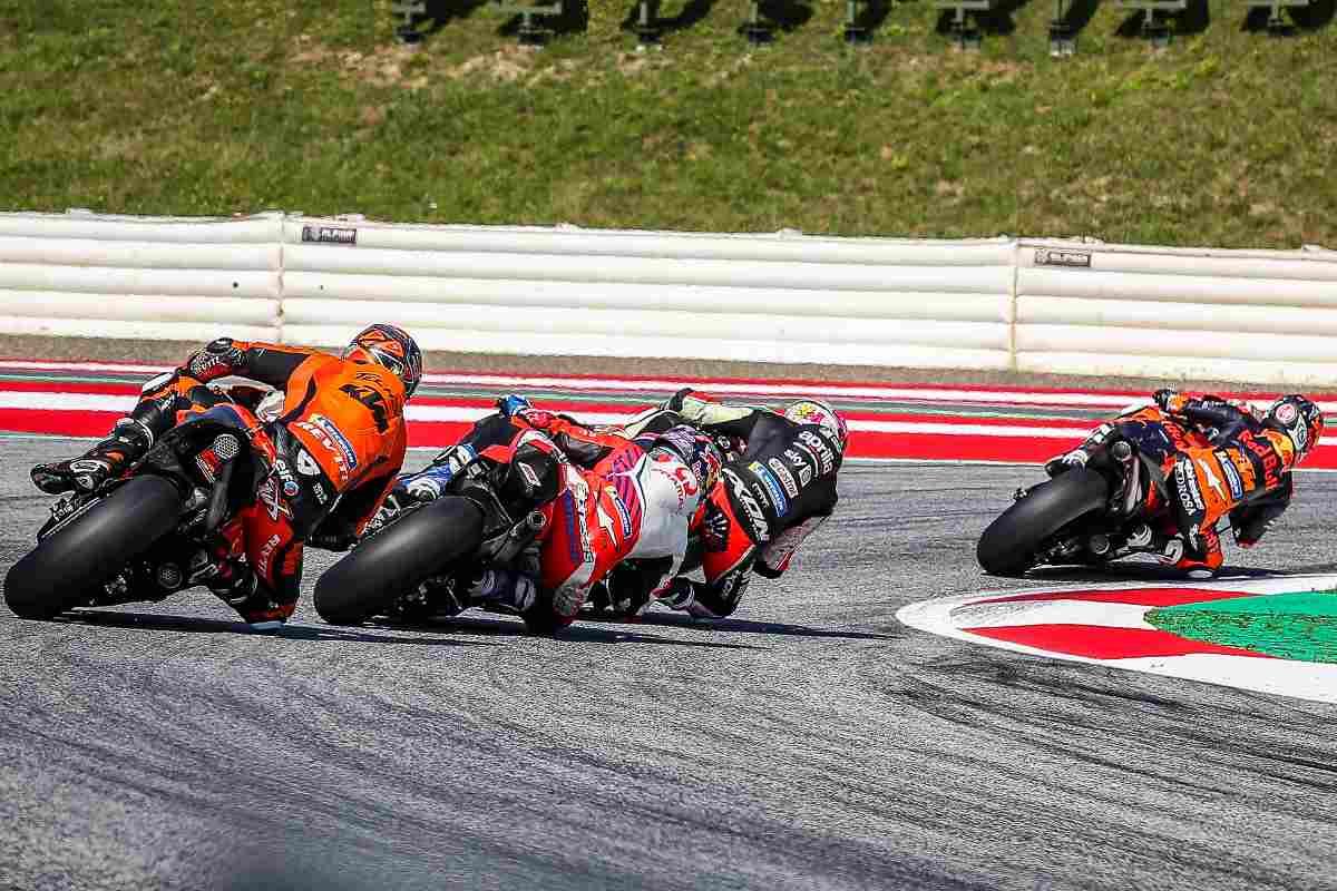 Una fase di gara del Gran Premio di Stiria di MotoGP 2021 al Red Bull Ring