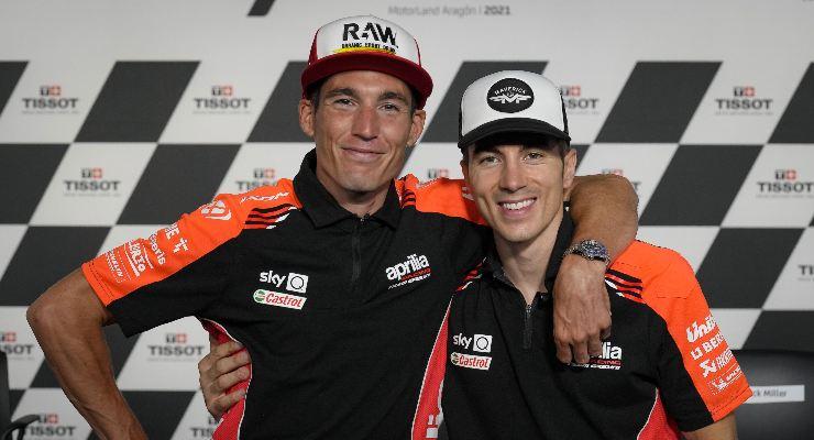 Aleix Espargarò e Maverick Vinales nella conferenza stampa alla vigilia del Gran Premio di Aragon di MotoGP 2021