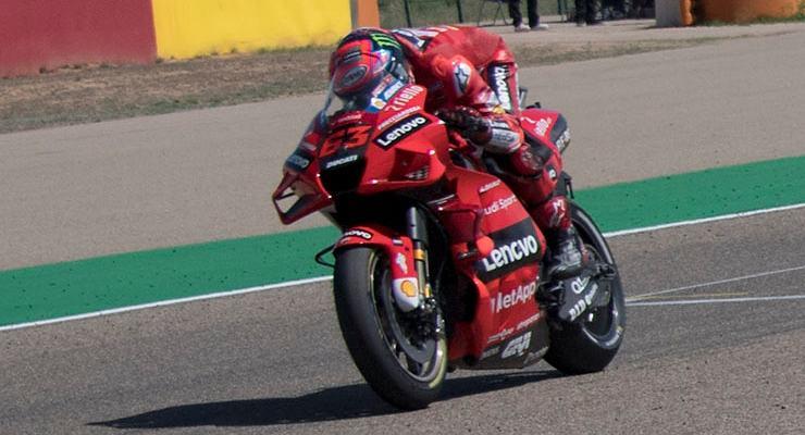 Pecco Bagnaia in pista sulla Ducati