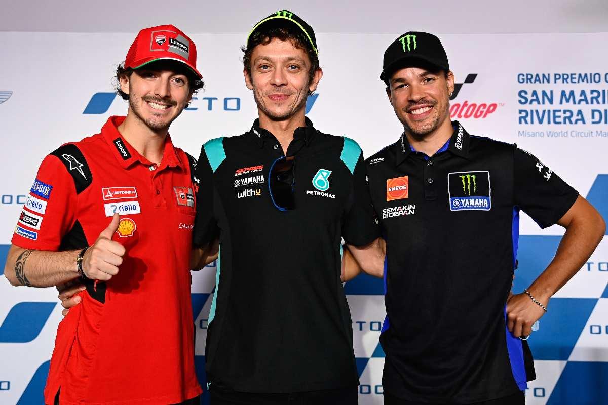 Pecco Bagnaia, Valentino Rossi e Franco Morbidelli