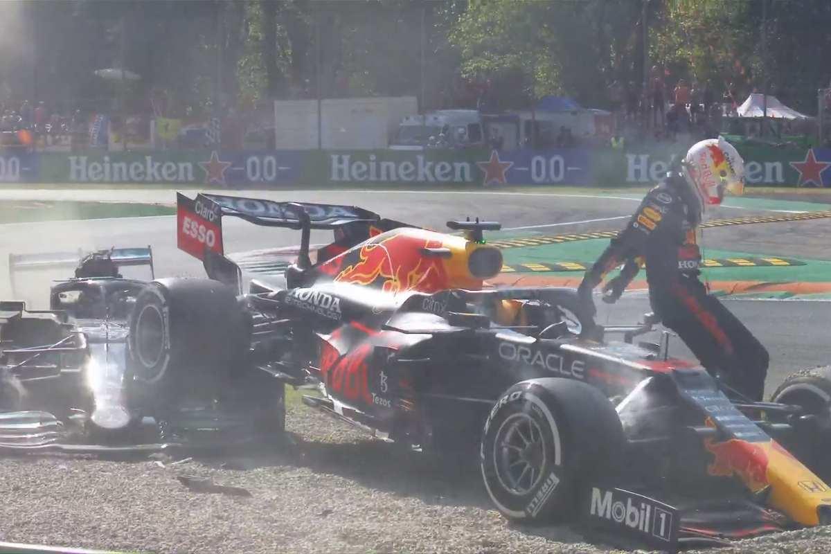 L'incidente tra Lewis Hamilton e Max Verstappen al Gran Premio d'Italia di F1 2021 a Monza