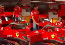 Khaby Lame con Carlos Sainz nel box della Ferrari