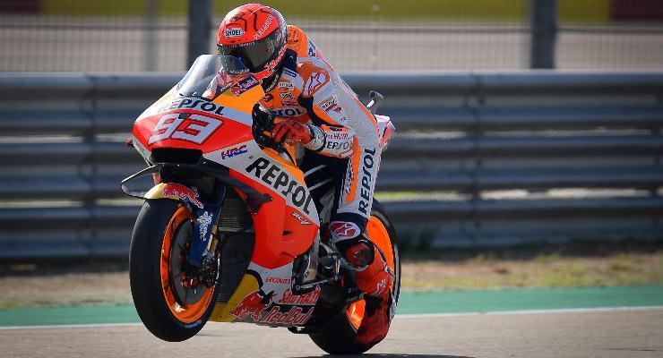 Marc Marquez in pista al Gran Premio di Aragon di MotoGP 2021 ad Alcaniz