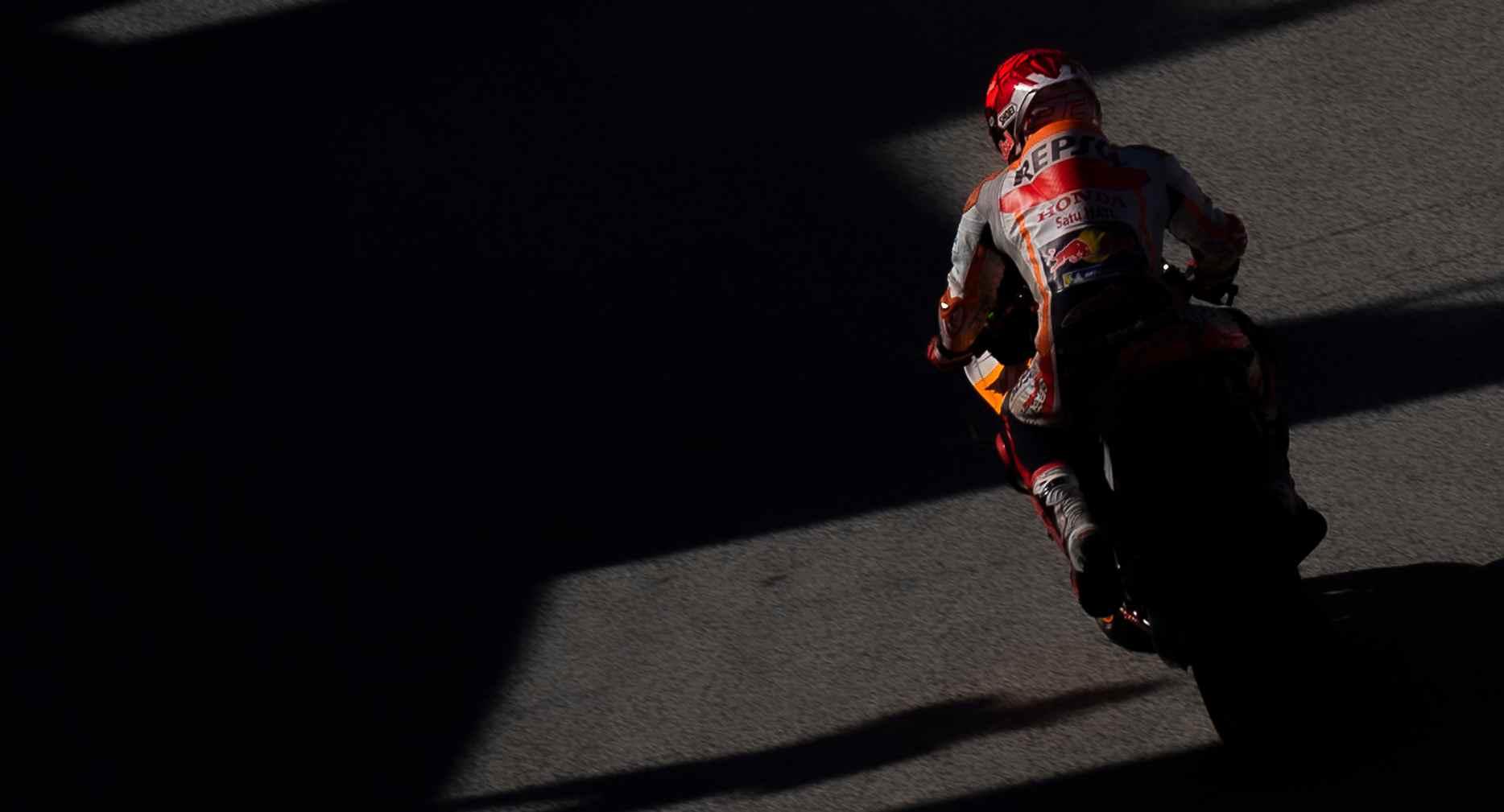 Marc Marquez in pista sulla Honda nelle qualifiche del Gran Premio di San Marino di MotoGP 2021 a Misano Adriatico