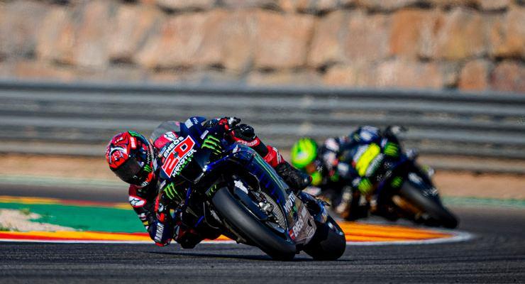 Fabio Quartararo in pista nel Gran Premio di Aragon di MotoGP 2021 ad Alcaniz