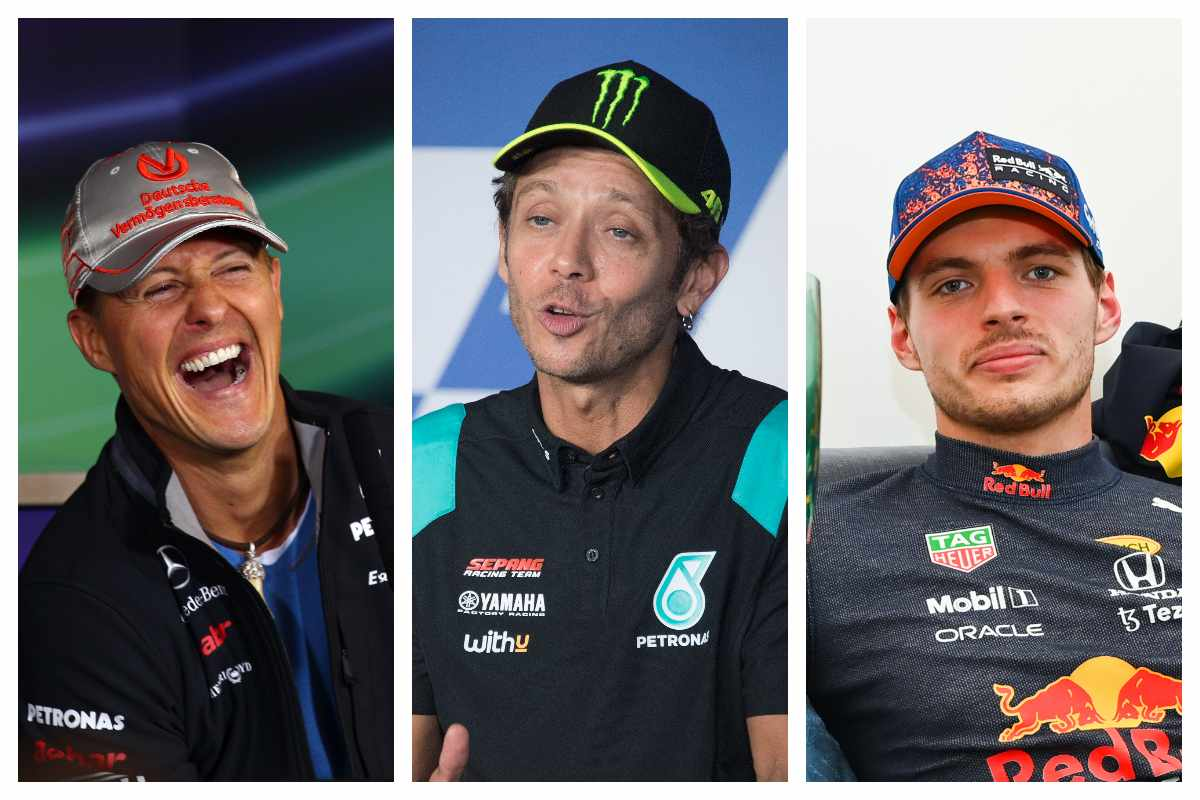Michael Schumacher, Valentino Rossi e Max Verstappen