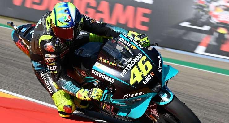 Valentino Rossi in pista nelle prove libere del Gran Premio di Aragon di MotoGP 2021 ad Alcaniz