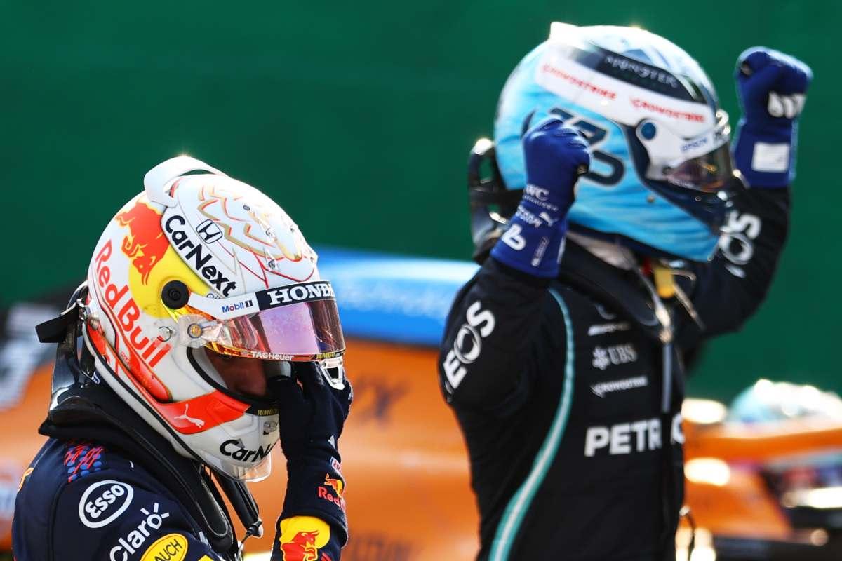 Max Verstappen e Valtteri Bottas dopo le qualifiche sprint del Gran Premio d'Italia di F1 2021 a Monza