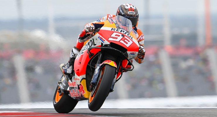 Marc Marquez in pista sulla Honda al Gran Premio delle Americhe di MotoGP 2021 ad Austin