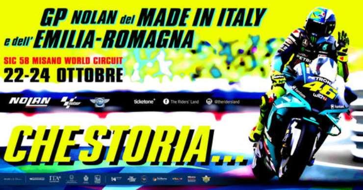 Il poster del Gran Premio di Misano disegnato da Aldo Drudi in onore di Valentino Rossi