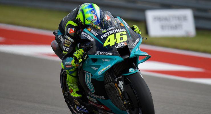 Valentino Rossi in pista sulla Yamaha Petronas nel Gran Premio delle Americhe di MotoGP 2021 ad Austin